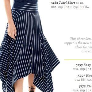 CAbi #5183 Twirl Skirt navy and white stripe